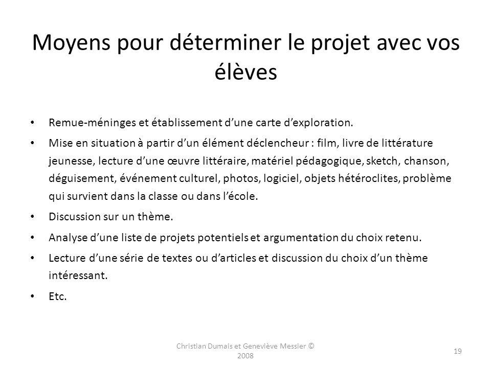 Moyens pour déterminer le projet avec vos élèves