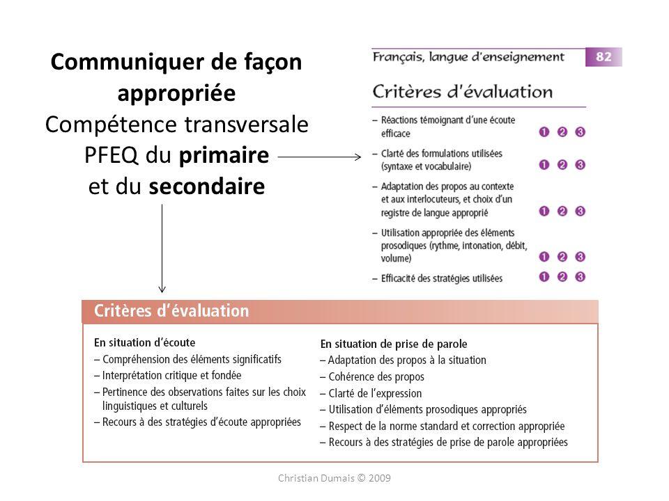 Communiquer de façon appropriée Compétence transversale PFEQ du primaire