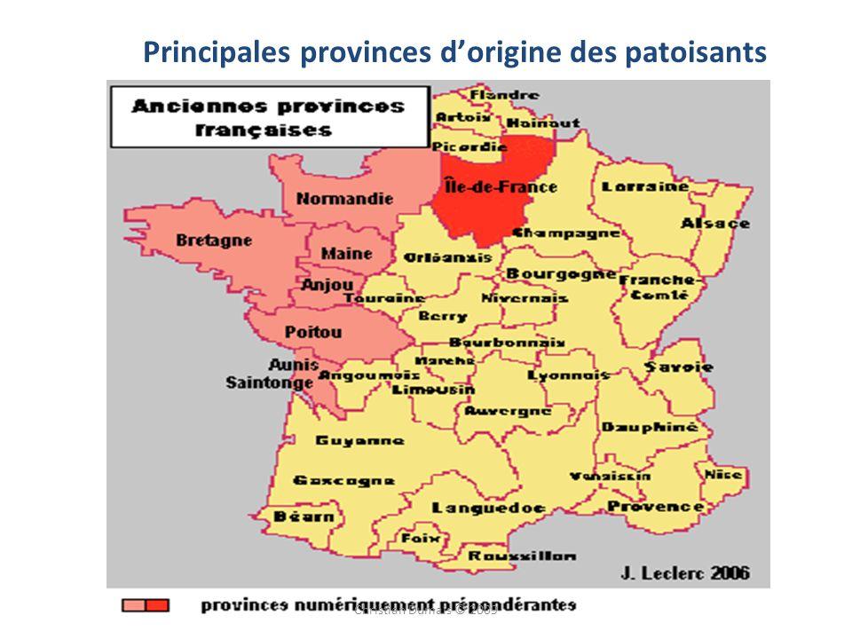 Principales provinces d'origine des patoisants