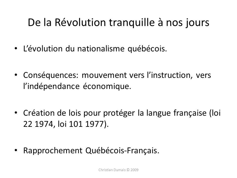 De la Révolution tranquille à nos jours