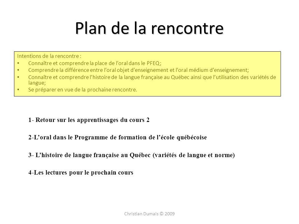 Plan de la rencontre 1- Retour sur les apprentissages du cours 2