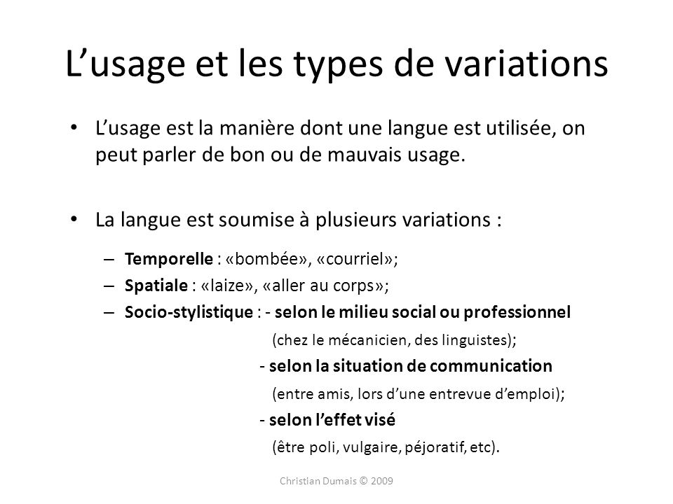 L'usage et les types de variations