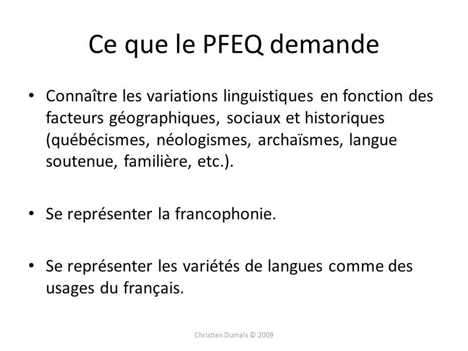 Ce que le PFEQ demande
