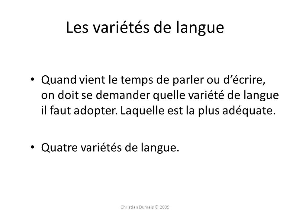 Les variétés de langue