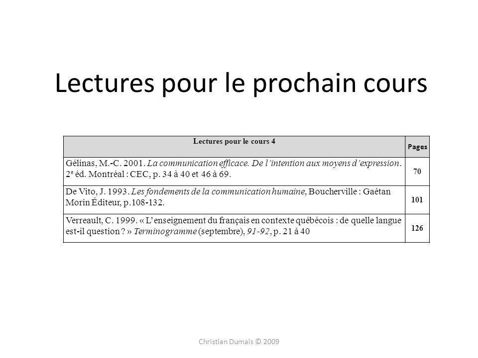 Lectures pour le prochain cours