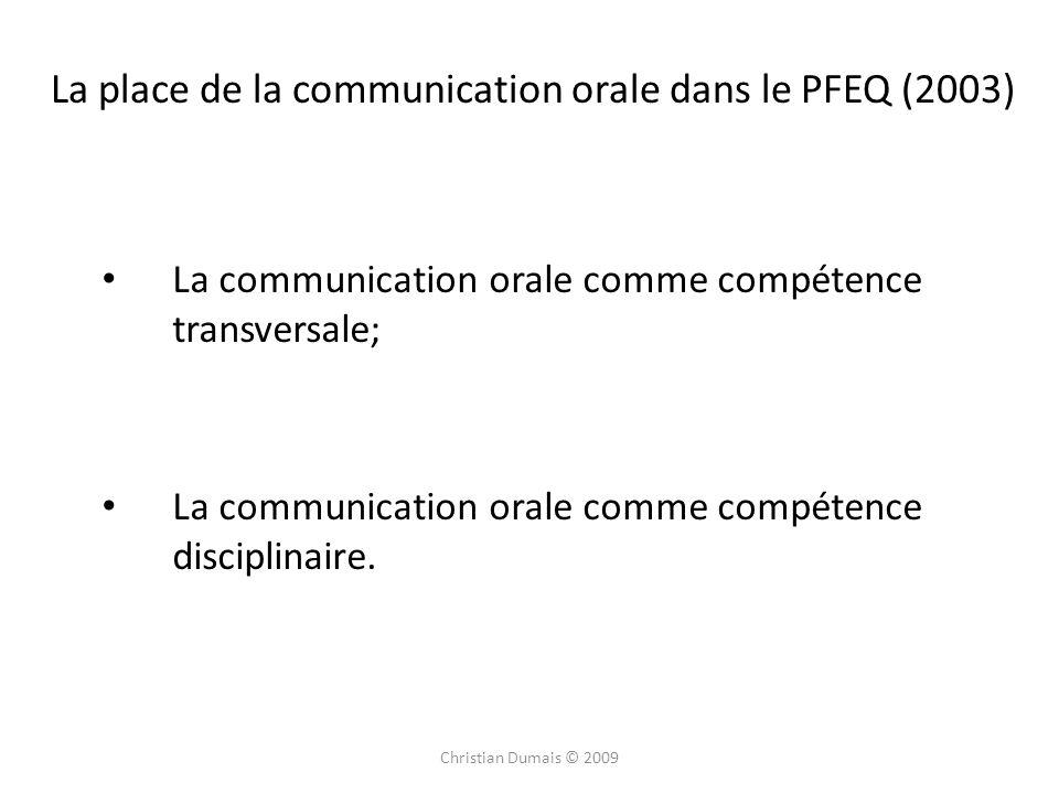 La place de la communication orale dans le PFEQ (2003)