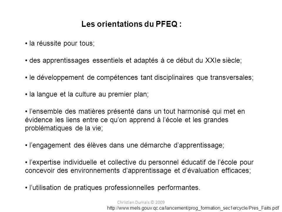 Les orientations du PFEQ :