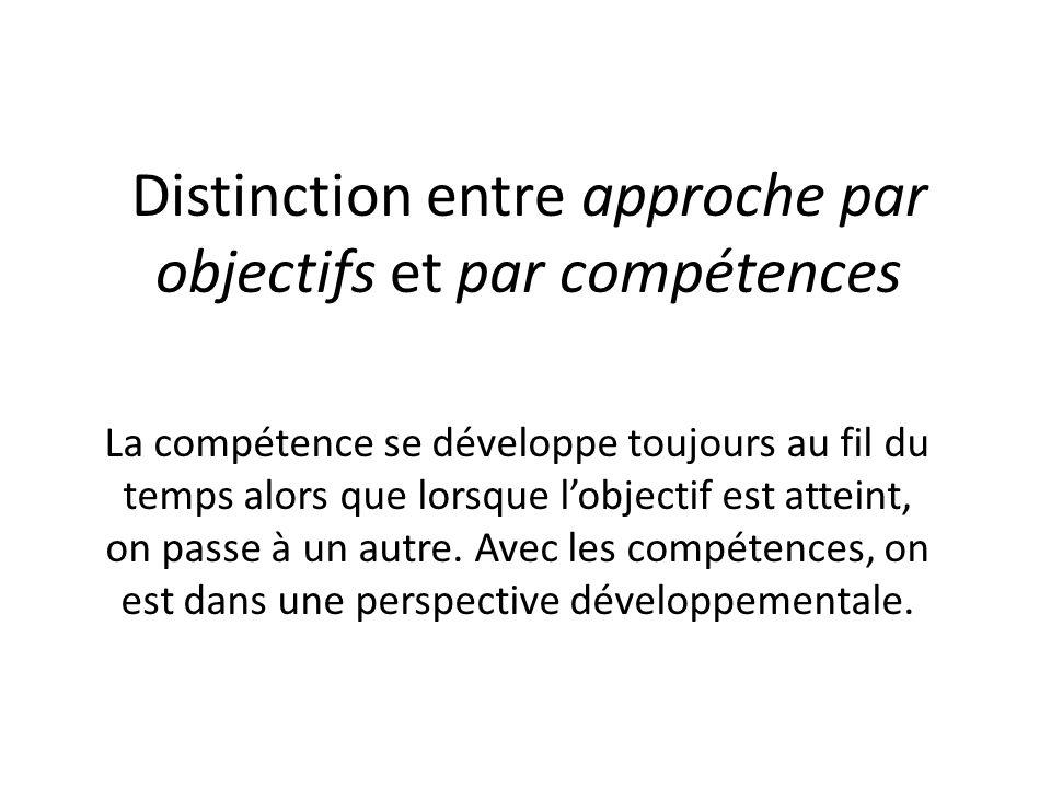 Distinction entre approche par objectifs et par compétences