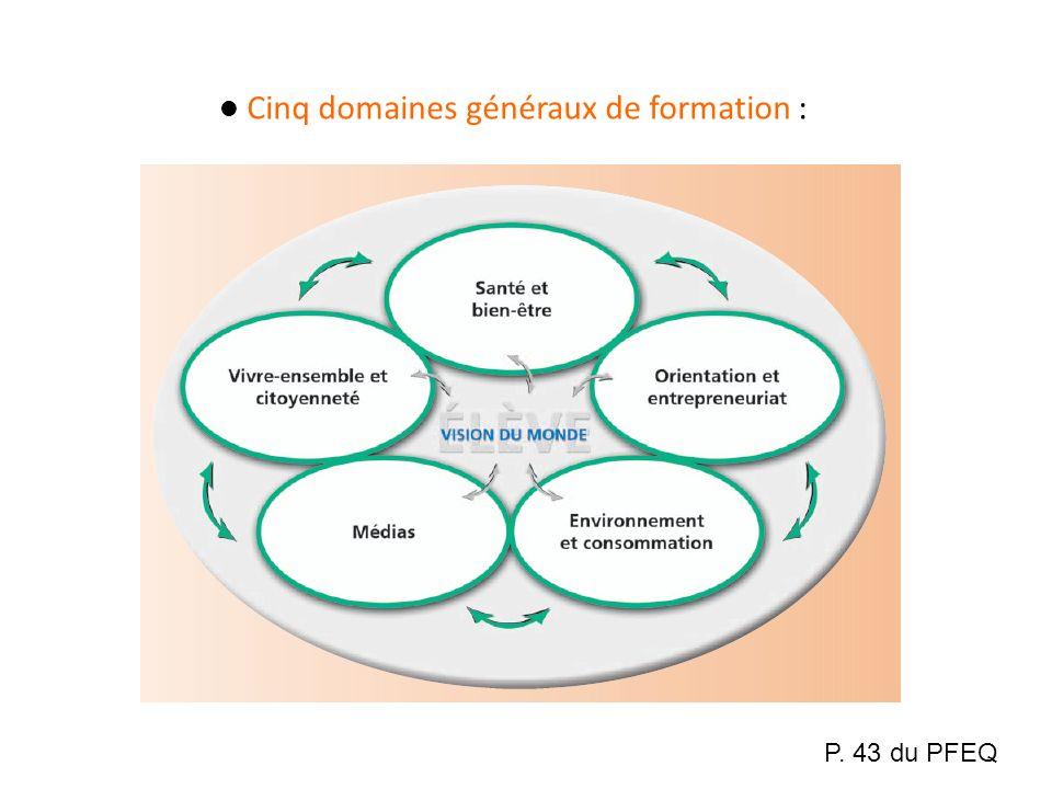 Cinq domaines généraux de formation :