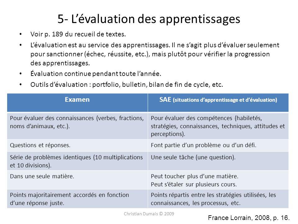 5- L'évaluation des apprentissages