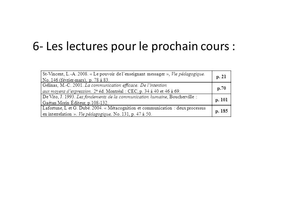 6- Les lectures pour le prochain cours :
