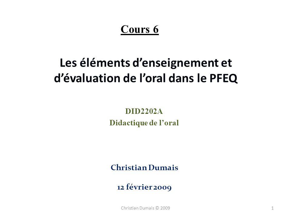 Les éléments d'enseignement et d'évaluation de l'oral dans le PFEQ