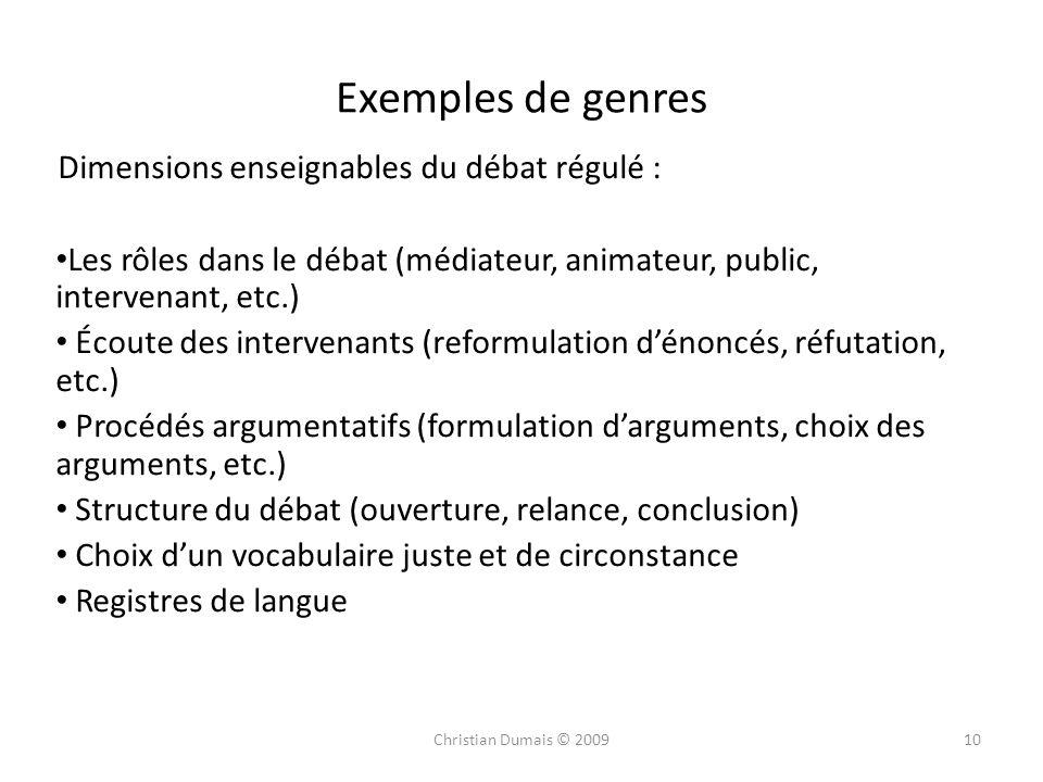 Exemples de genres Dimensions enseignables du débat régulé :