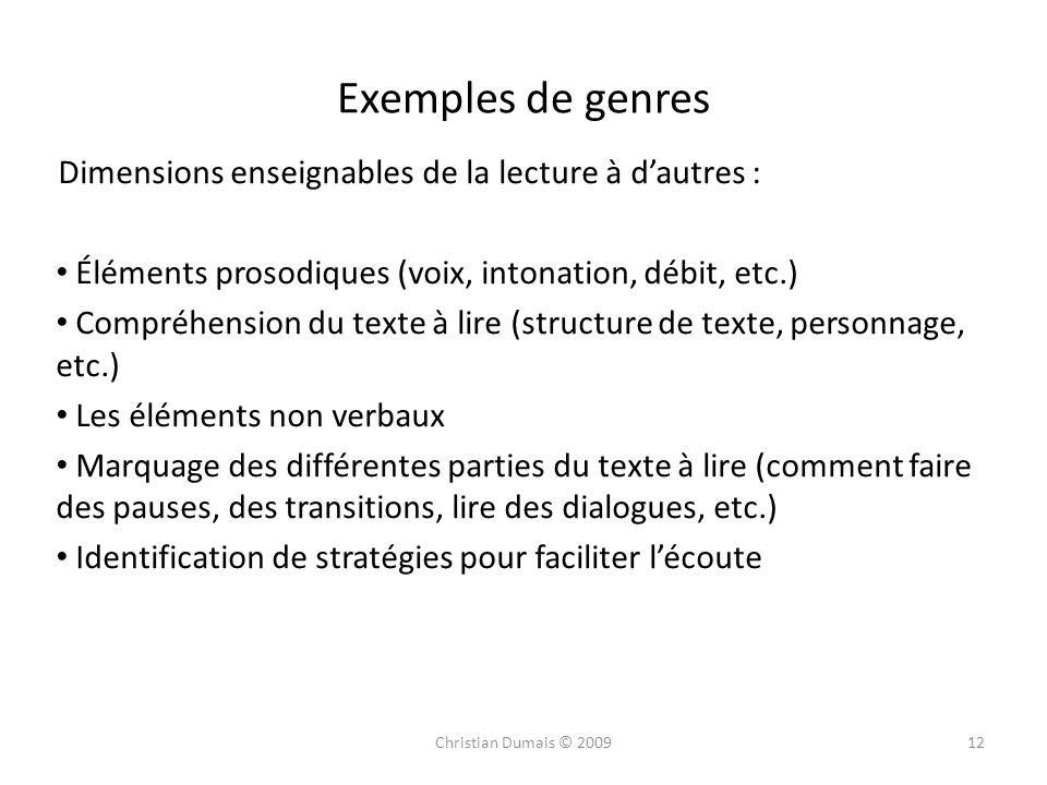 Exemples de genres Dimensions enseignables de la lecture à d'autres :
