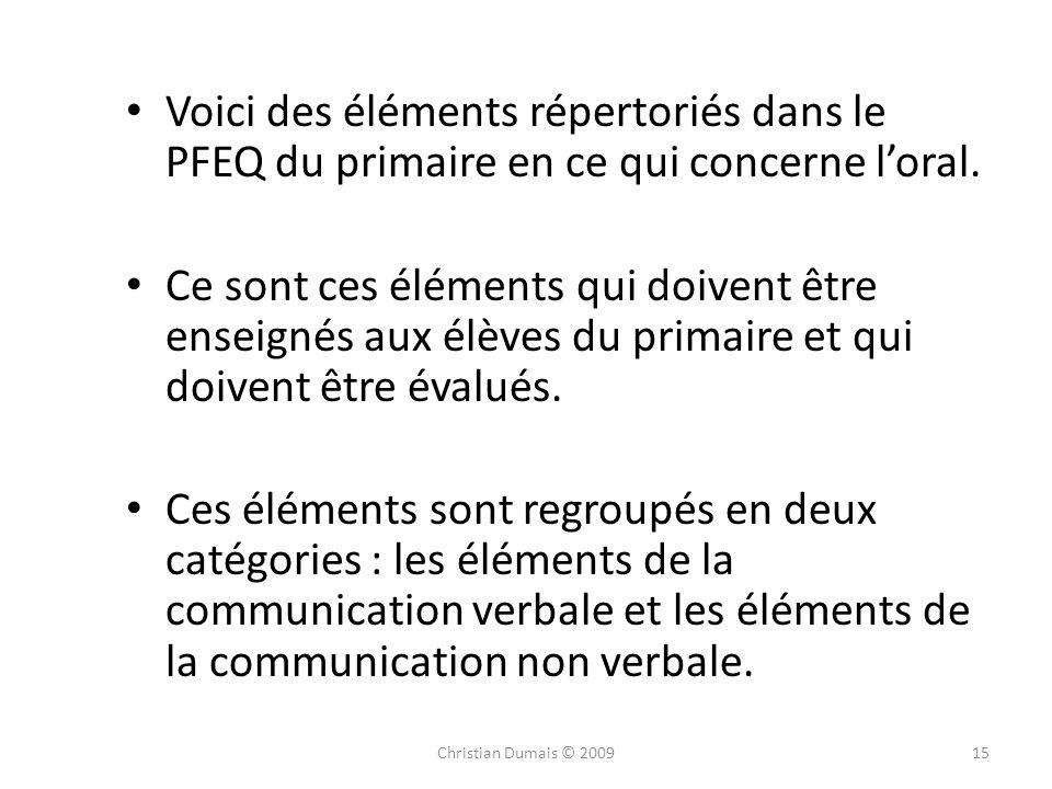 Voici des éléments répertoriés dans le PFEQ du primaire en ce qui concerne l'oral.