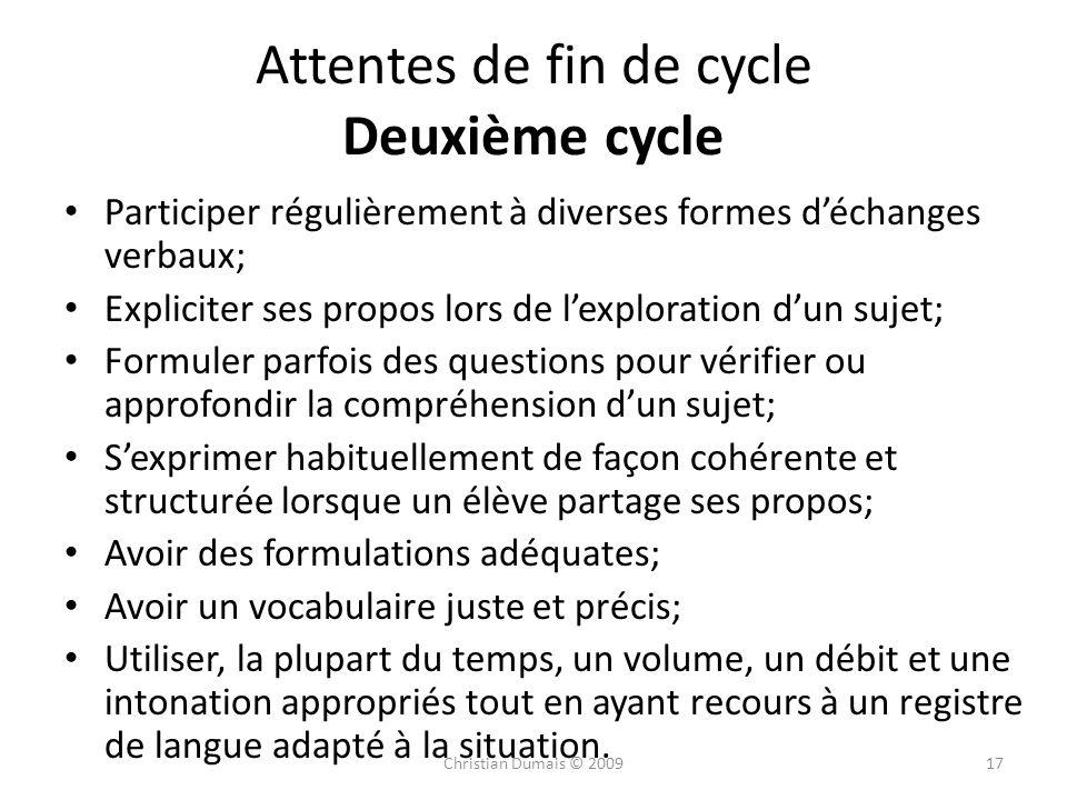 Attentes de fin de cycle Deuxième cycle