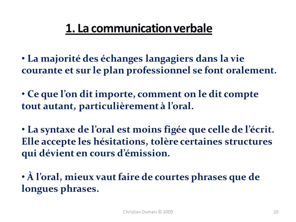 1. La communication verbale