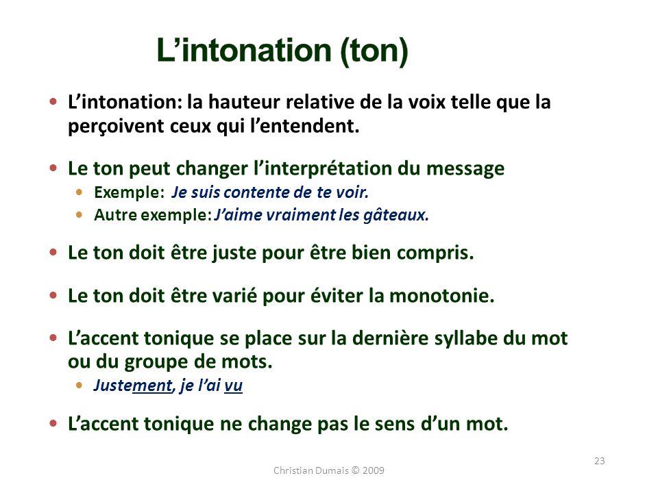L'intonation (ton) L'intonation: la hauteur relative de la voix telle que la perçoivent ceux qui l'entendent.