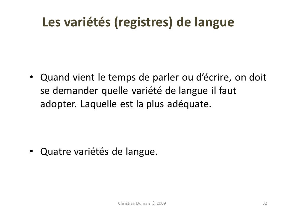 Les variétés (registres) de langue