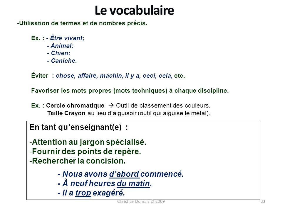 Le vocabulaire En tant qu'enseignant(e) :