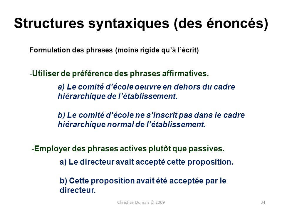 Structures syntaxiques (des énoncés)