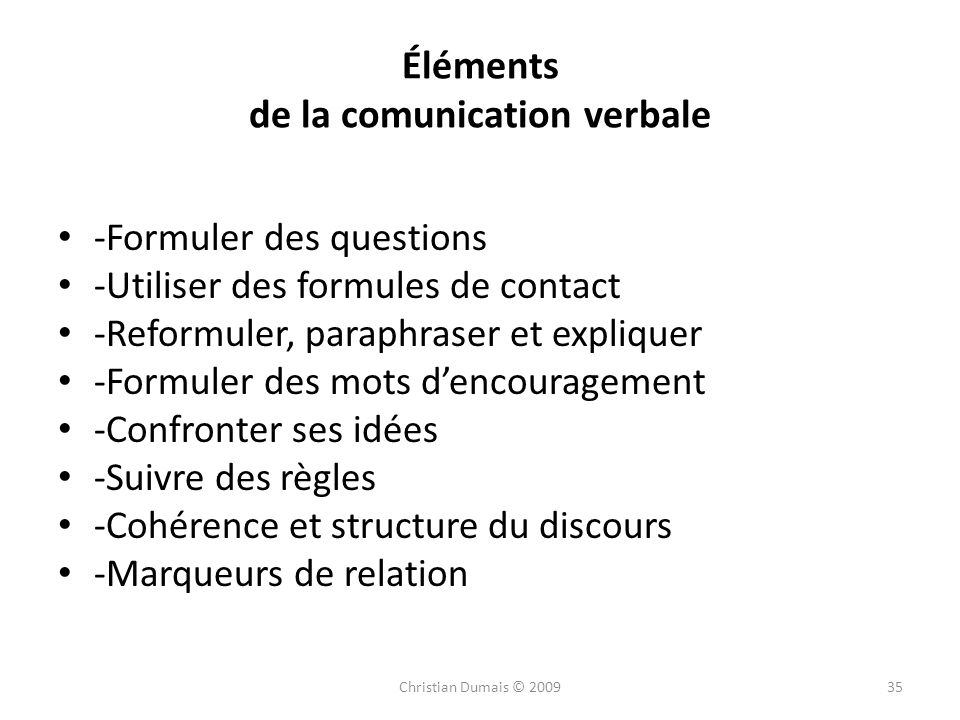 Éléments de la comunication verbale