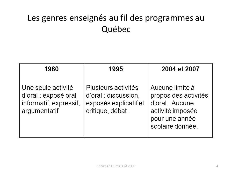 Les genres enseignés au fil des programmes au Québec