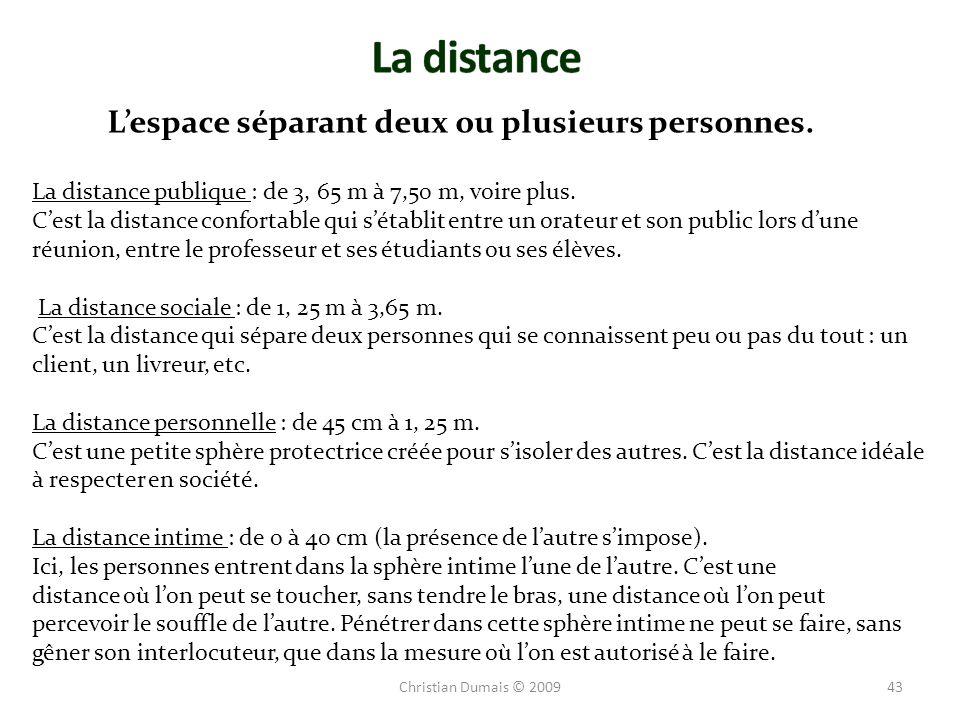 La distance L'espace séparant deux ou plusieurs personnes.