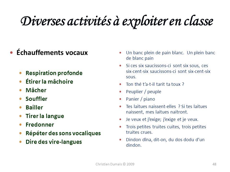 Diverses activités à exploiter en classe
