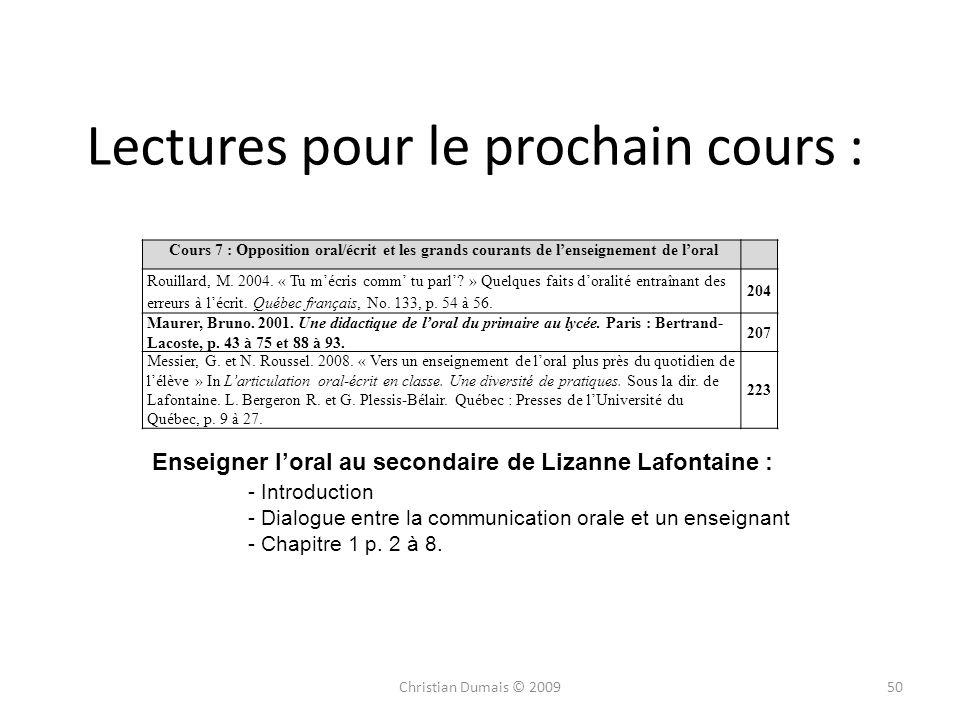 Lectures pour le prochain cours :