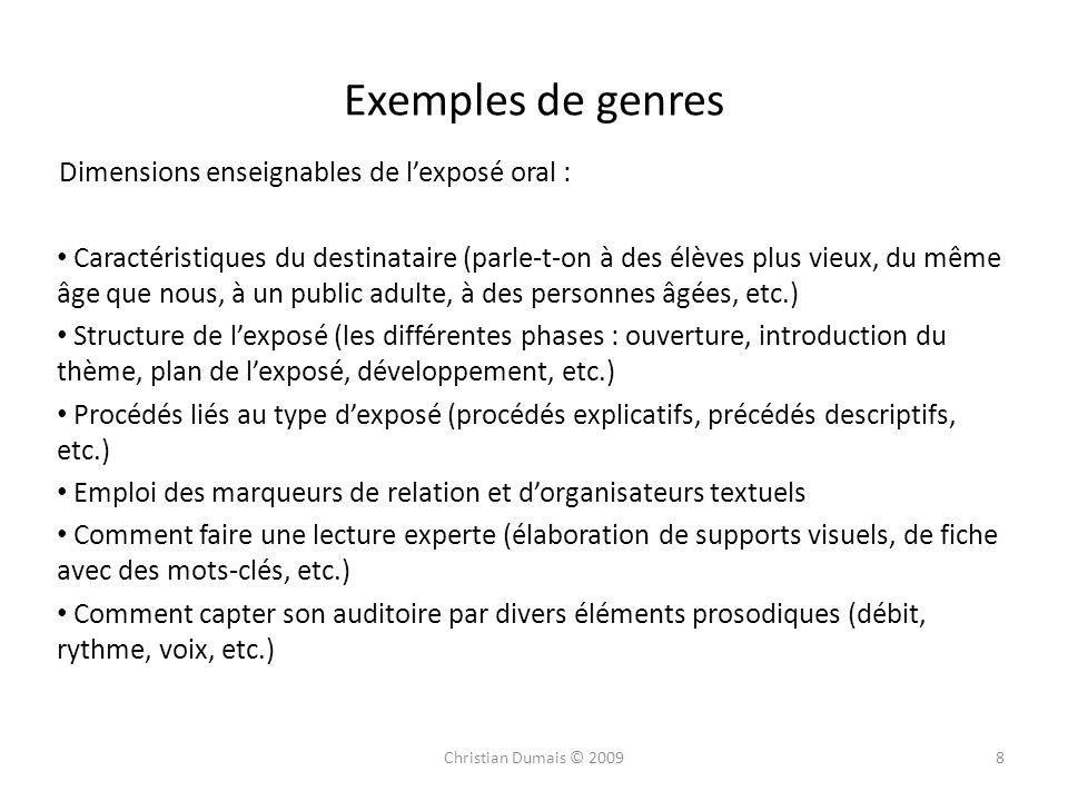 Exemples de genres Dimensions enseignables de l'exposé oral :