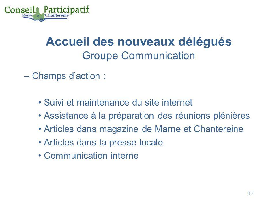 Accueil des nouveaux délégués Groupe Communication