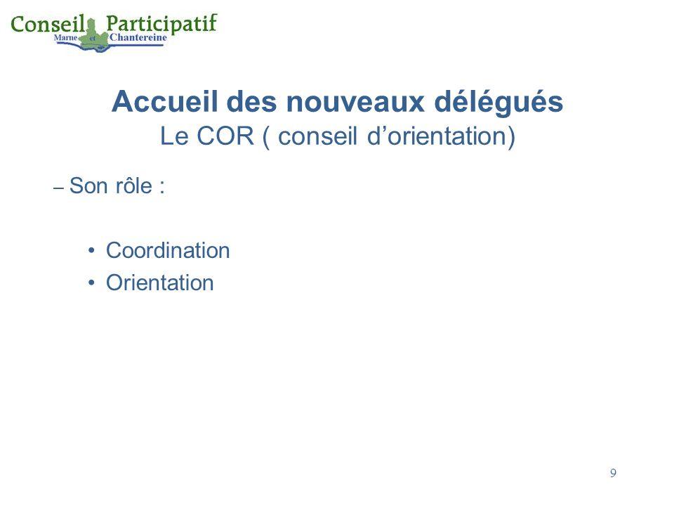 Accueil des nouveaux délégués Le COR ( conseil d'orientation)