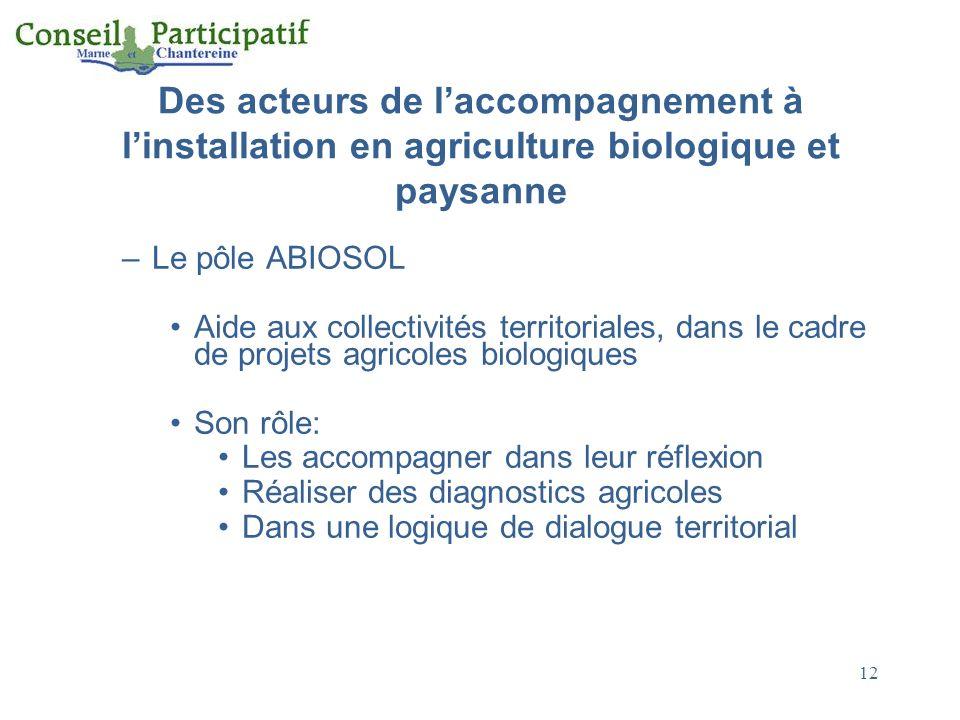 Des acteurs de l'accompagnement à l'installation en agriculture biologique et paysanne