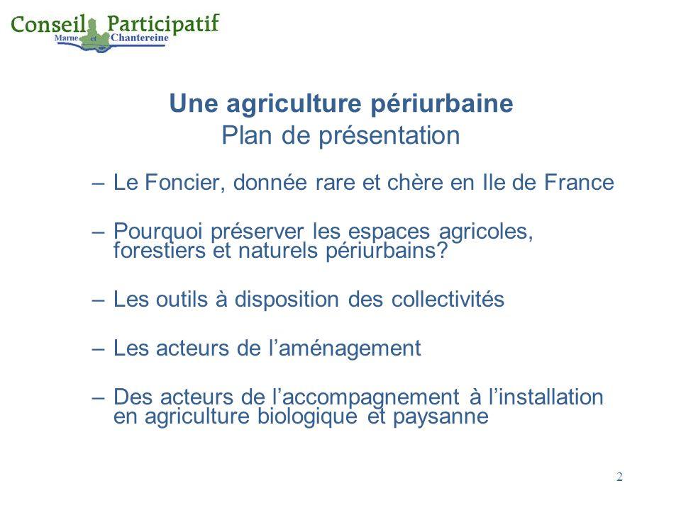 Une agriculture périurbaine Plan de présentation