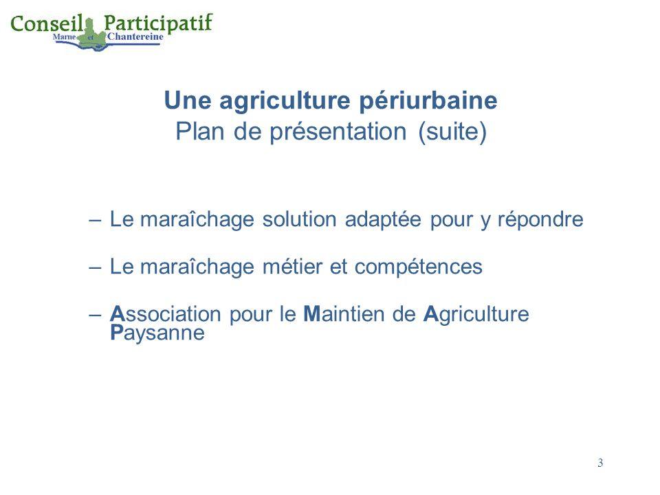 Une agriculture périurbaine Plan de présentation (suite)