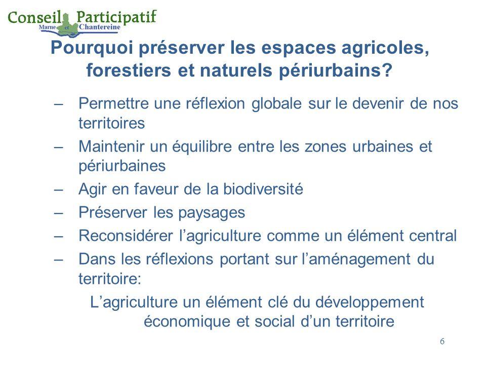 Pourquoi préserver les espaces agricoles, forestiers et naturels périurbains