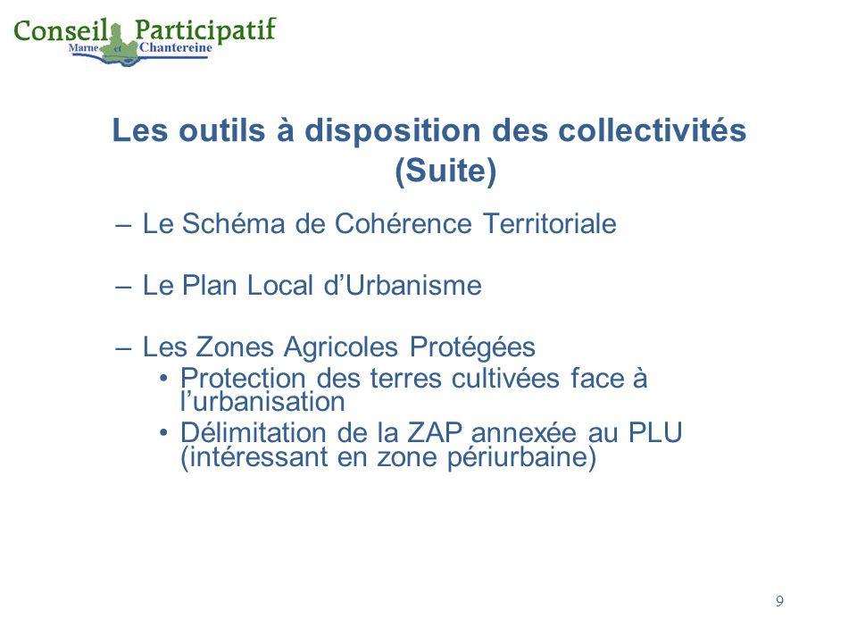 Les outils à disposition des collectivités (Suite)