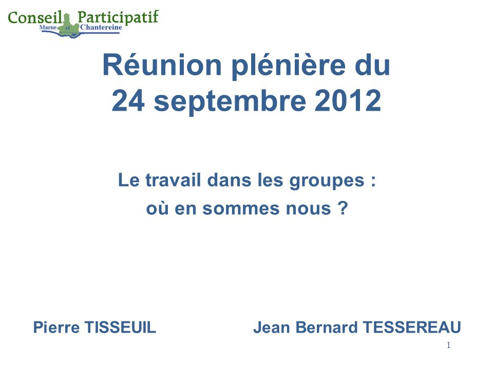 Réunion plénière du 24 septembre 2012
