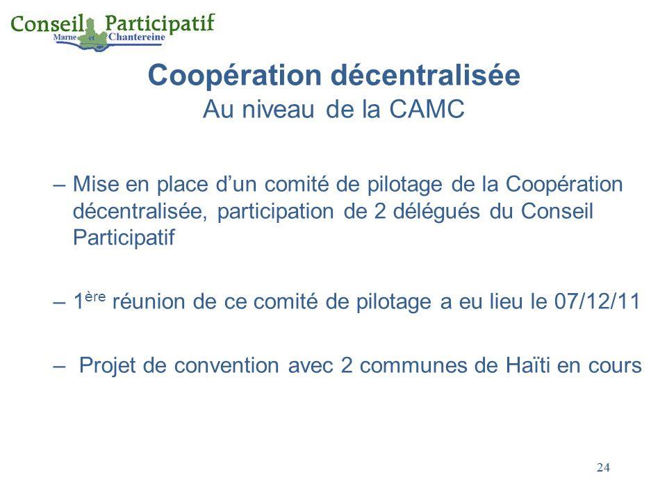 Coopération décentralisée Au niveau de la CAMC