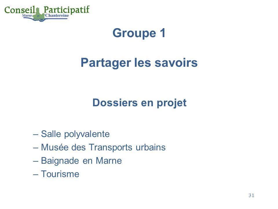 Groupe 1 Partager les savoirs Dossiers en projet