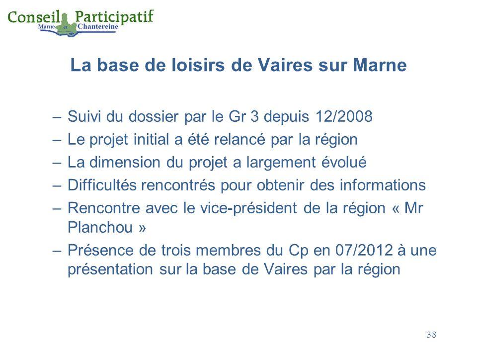 La base de loisirs de Vaires sur Marne