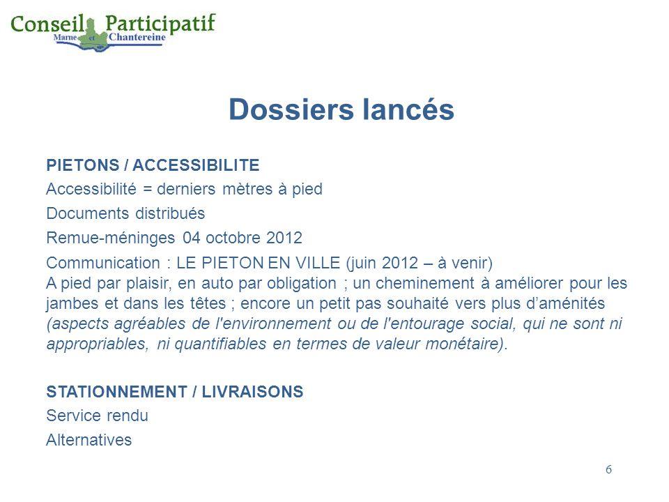 Dossiers lancés PIETONS / ACCESSIBILITE