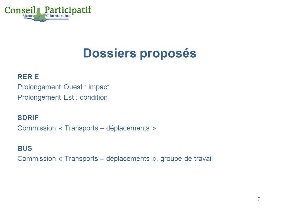 Dossiers proposés RER E Prolongement Ouest : impact