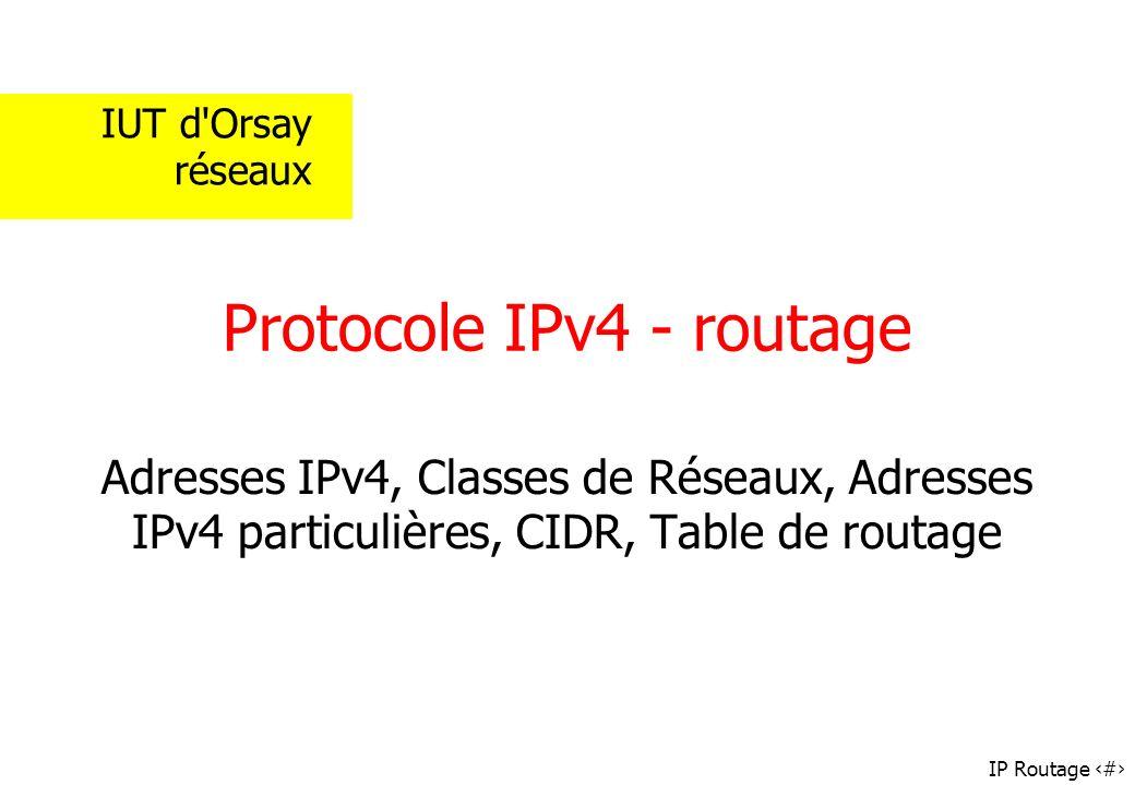 Protocole IPv4 - routage