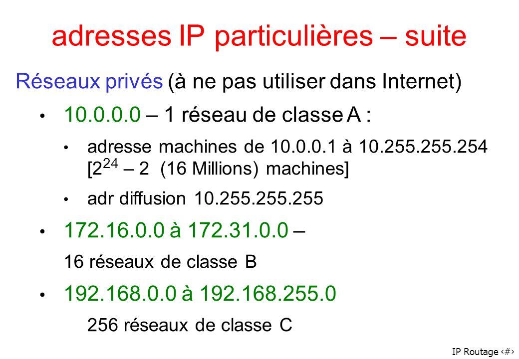 adresses IP particulières – suite