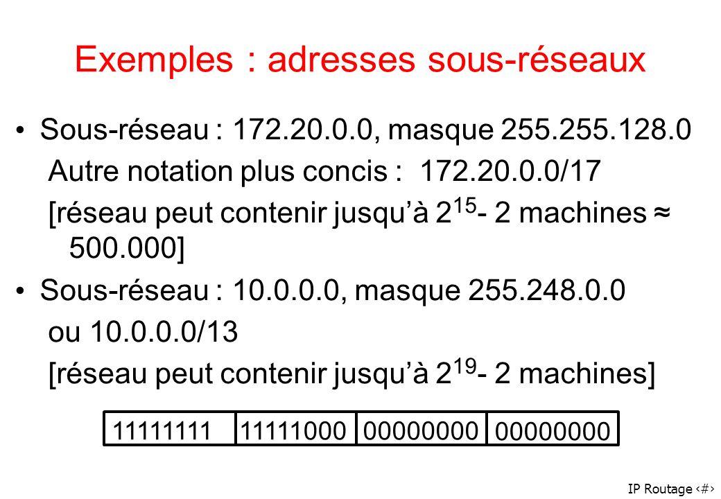 Exemples : adresses sous-réseaux