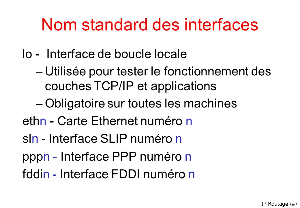Nom standard des interfaces