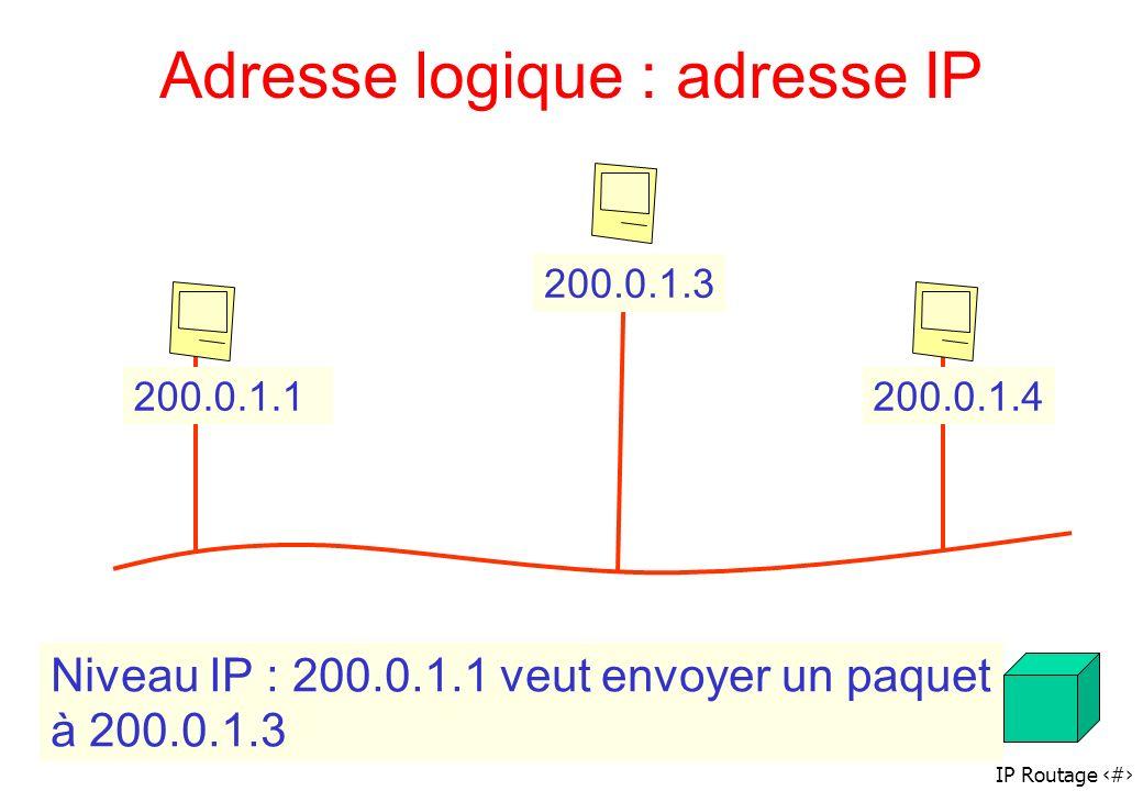 Adresse logique : adresse IP