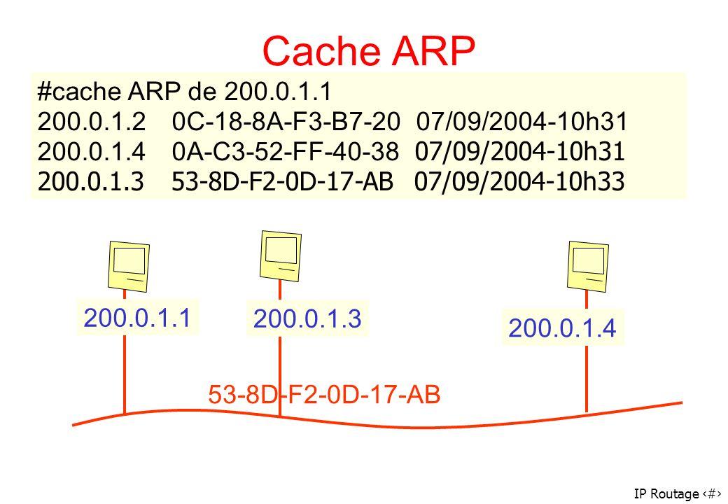 Cache ARP #cache ARP de 200.0.1.1. 200.0.1.2 0C-18-8A-F3-B7-20 07/09/2004-10h31 200.0.1.4 0A-C3-52-FF-40-38 07/09/2004-10h31.